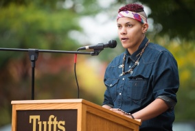 Medford/Somerville, MA – Tufts student, Renee' Vallejo speaks during the Indigenous People's Day Rally on the Lower Campus Center Patio on October 13th, 2014. (Nicholas Pfosi / The Tufts Daily)