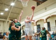 12/6/14 – Medford/Somerville, MA – Tufts center Hayley Kanner, A15, goes up for a layup during the first half of the Tufts women's basketball game against Fitchburg State in Cousens Gym on December 6th 2014. (Nicholas Pfosi / The Tufts Daily)
