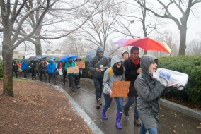 12/9/14 – Medford/Somerville, MA – Protesters march to Ballou Hall on December 9, 2014. (Evan Sayles / The Tufts Daily)