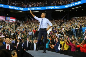 President Barack Obama receives a standing ovation as he takes the stage to discuss college affordability and access to quality higher education at Georgia Tech on Tuesday, March 10, 2015, in Atlanta.   (Curtis Compton/Atlanta Journal-Constitution/TNS)