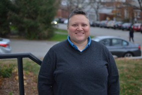 11/10/15 – Medford/Somerville, MA – Director of the Student Affairs Pluralism Initiative Steph Gauchel poses outside the Women's Center on Nov. 10, 2015. (Sofie Hecht / The Tufts Daily)