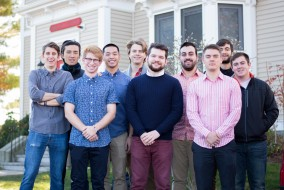 The final executive board of Sigma Phi Epsilon (from left: Yotam Bentov A17, Adrian Chu E16, Jacob Lebovic A18, Andre Chuong A18, Herluf Gyde Lund III E16, Shawn Patterson A17, Benjamin Kaplan A17, Matthew Masi-Phelps E17, Arman Smigielski A18 and Samuel Berzok A16) pose in front of their house at 92 Professors Row on Tuesday, Nov. 17, 2015, days before announcing their intention to disaffiliate from their national organization. (Evan Sayles / The Tufts Daily)