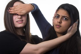 2/8/16 – Medford/Somerville, MA – Pooja Sivaraman and Rebecca Solomon pose for a headshot on Monday, Feb. 8, 2016. (Evan Sayles / The Tufts Daily)