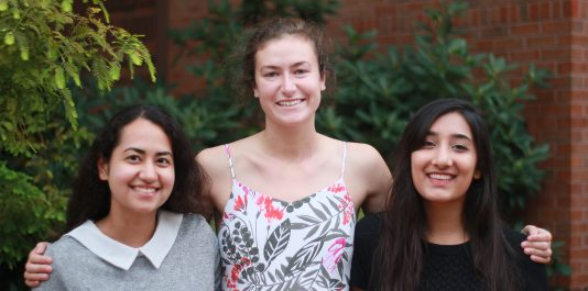 Tufts Union co-founders Nimarta Narang, Elizabeth Ahrens, and Manal Cheema, all seniors, pose for a portrait in front of the Campus Center on Aug. 29, 2016. (Max Lalanne/The Tufts Daily)