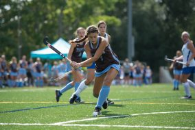 Sophomore midfielder Gigi Tutoni prepares to hit the ball in the 2-0 victory against Colby on Sept. 12, 2015. (Evan Sayles / The Tufts Daily)