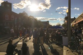 Crowds enjoy the Fluff Festival food trucks and booths in Union Square on Sept. 24. (Hailey Gavin / The Tufts Daily)