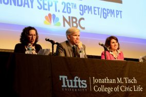 Deborah Schildkraut introduces panelists David Gregory and Sarah Sobieraj during the Presidential Debate Watch Party at Cohen Auditorium on Sept. 26th. (Rachael Meyer / The Tufts Daily)