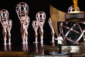 Jimmy Kimmel speaks during the 68th Primetime Emmy Awards at the Microsoft Theater in Los Angeles on Sunday, Sept. 18. (Robert Gauthier/Los Angeles Times/TNS)