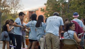 Students volunteering for JumboVote man one of the voter registration tables at VoteFest on Sept. 23. (Max Lalanne / The Tufts Daily)