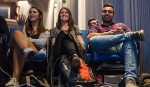 Students watch the first 2016 presidential debate at the Department of Political Science's Presidential Debate Watch Party at Cohen Auditorium on Sept 26. (Ray Bernoff / The Tufts Daily)