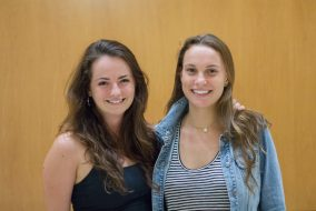 Senior Shelby Luce, left,  and junior Lucy Zwigard, pictured here on Sept. 19,  co-founded Tufts Food Rescue Collaborative. (Max Lalanne / The Tufts Daily)