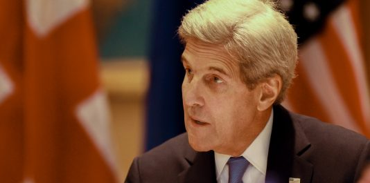 Secretary of State John Kerry gives opening remarks in a meeting with the Quintet foreign ministers in Ballou Hall on Sept. 24. (Max Lalanne / The Tufts Daily)