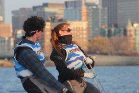 Then first year Jack Bitney, left, and junior Natalie Danziger sail on Mar. 8. (Courtesy Ken Legler)