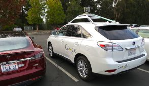 A Lexus RX450h retrofitted by Google for its driverless car fleet sits in a parking lot on Nov. 15, 2012. (Photo by Steve Jurvetson)