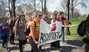 Tufts students marched from the Campus Center to Ballou Hall on Wednesday, Apr. 22, 2015 to voice their support for divestment. (Evan Sayles / The Tufts Daily)