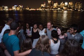 Incoming first years of the Class of 2019 participate in the final day of CAFE, an interfaith pre-orientation program, in Boston on Wednesday, Sept. 2, 2015. (Nicholas Pfosi / The Tufts Daily Archive)