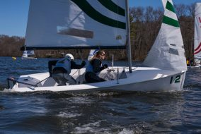 Tufts sailors compete in a race at the April 10 regatta at Tufts Sailing Team Boat House on Mystic Lake. (Ray Bernoff / The Tufts Daily)