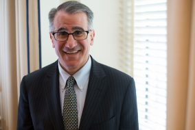 University President, Anthony Monaco poses for a portrait in his office on May. 4. (Nicholas Pfosi / The Tufts Daily)