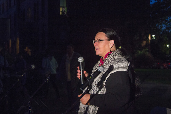 Activist Mahtowin Munro speaks during the Indigenous People's Day Celebration at Tufts on the Academic Quad on Oct. 10. (Max Lalanne / The Tufts Daily)