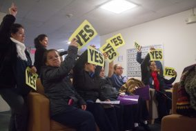Janitors vote to authorize a strike if necessary when the current contract for Tufts workers expires on Halloween in Tilton Hall on Oct. 31. (Max Lalanne / The Tufts Daily)