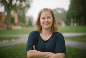 Senior Elizabeth Billings, the founder of Women Who Game at Tufts, poses for a portrait on the Academic Quad on Oct. 18. (Colin Murphy / The Tufts Daily)
