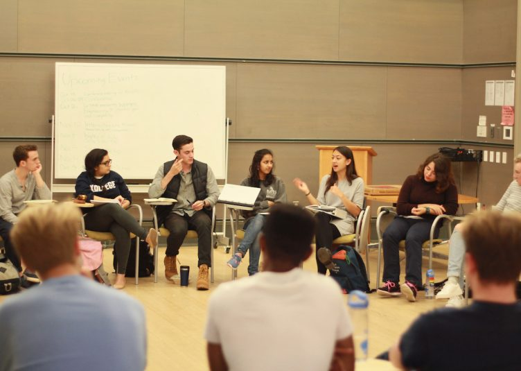 The TCU Senate is pictured during their weekly meeting on Oct. 16. (Max Lalanne / The Tufts Daily)