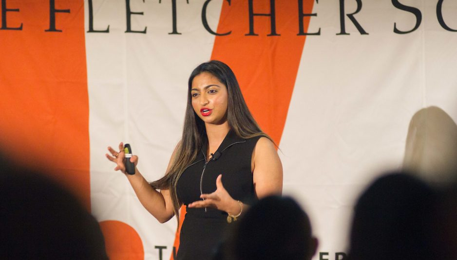 """Mariya Ilyas, a MALD candidate at the Fletcher School, speaks on """"The Power of Blogs"""" at the Fletcher Ideas Exchange event in ASEAN Auditorium on Oct. 15. (Max Lalanne / The Tufts Daily)"""