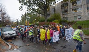 Protestors rallying for janitor's rights march down Professor's Row on Oct. 22. (Courtesy Ben Britt)