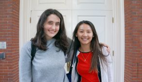 Tufts Climate Action members Bianca Hutner and Julia Hackel, both juniors, pose for a portrait outside Ballou Hall following their meeting with President Monaco on Oct. 21. (Seohyun Shim / The Tufts Daily)