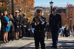 Senior and NROTC Midshipman First Class Dante Vivilecchia participates in the annual Veterans Day Pass the Flag Ceremony on the Memorial Steps on Nov. 11. (Courtesy Anthony Monaco)