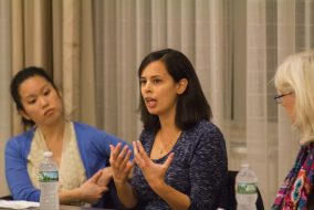 Assistant Professor of Psychology Jessica Remedios speaks in the America's Women panel (organized by Kappa Alpha Theta and Panhellenic Council in conjunction with Tufts Psych Society, and sponsored by JumboVote) in the Alumnae Lounge on Nov. 3. (Max Lalanne / The Tufts Daily)