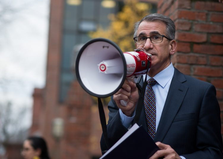 University President Anthony P. Monaco announces his support of undocumented students at Tufts after a campus-wide walkout on Nov. 16, 2016. (Evan Sayles / The Tufts Daily)