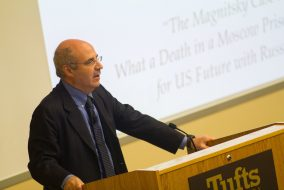 Founder and CEO of Hermitage Capital Management Bill Browder discusses the case of murdered Russian lawyer Sergei Magnitsky and U.S.-Russia relations in ASEAN Auditorium on Nov. 28. (Max Lalanne / The Tufts Daily)