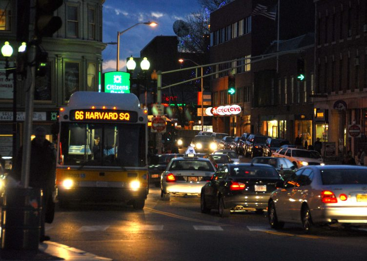 The MBTA is considering a proposal by a private company that will offer late-night bus transportation after the current MBTA transit services close at night. (Wikimedia Commons)