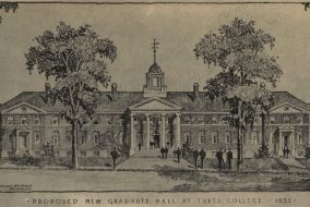A rendering of a proposed new graduate hall at Tufts made in 1935 by Andrews, Jones, Biscoe and Whitmore. Architects. (Via Tufts Digital Library)