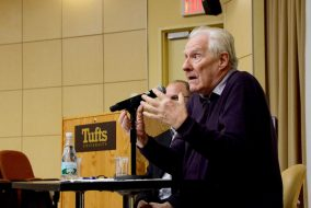 French philosopher Alain Badiou speaks during his lecture on American democracy and the presidential election in ASEAN Auditorium on Nov. 17. (Rachael Meyer / The Tufts Daily)
