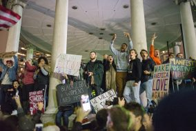 Protestors participating at a rally against President-elect Donald Trump gather at Parkman Bandstand in the Boston Common on Nov. 9. (Evan Sayles / The Tufts Daily)