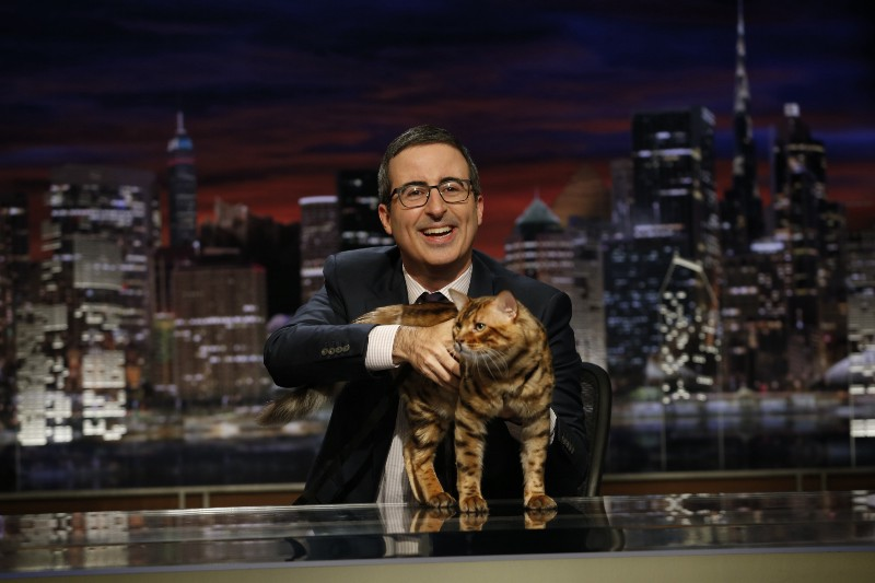 """John Oliver has dedicated several episodes of his HBO show, """"Last Week Tonight,"""" to savaging President-elect Donald Trump this season. (Eric Liebowitz/HBO)"""