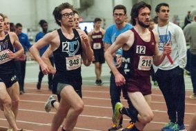 Then-junior Tim Nichols competes at the New England Div. III Indoor Championships in Cambridge, MA on  Feb. 20. (Evan Sayles / The Tufts Daily)