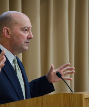 Admiral James Stavridis, dean of the Fletcher School of Law and Diplomacy, welcomes the audience to a ceremony honoring Dr. Nahid Bhadelia (J99, F04, M05) on March 11. (Alex Knapp / The Tufts Daily Archives)