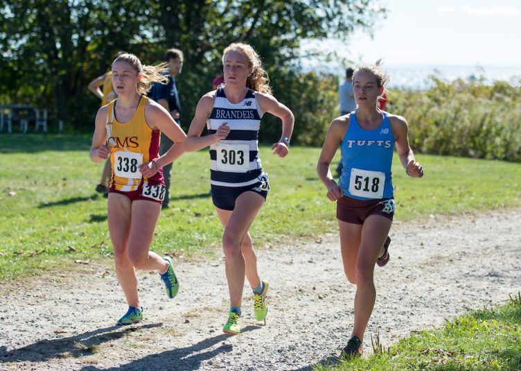 Junior Brittany Bowman runs at the Conn. College Cross Country Invitational at Harkness Memorial State Park on Oct. 15. (Evan Sayles / The Tufts Daily Archive)