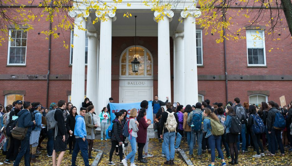After a campus-wide walkout, hundreds of Tufts students join community members for a march and rally demanding that Tufts become a sanctuary campus on Wednesday, Nov. 16. (Evan Sayles / The Tufts Daily)