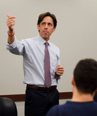 David Simas, Assistant to President Obama and Director of the Office of Political Strategy and Outreach, participates in a Q&A as part of Tisch College's Civic Life Lunch Series. (Matthew Schreiber / The Tufts Daily)