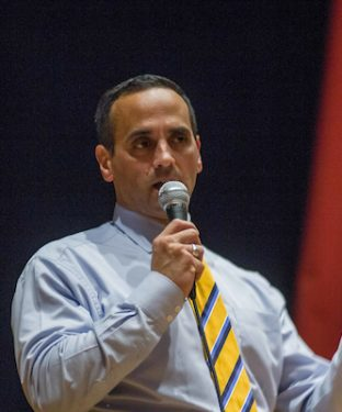 Mayor Joe Curtatone speaks to the audience during a Somerville Democratic City Committee meeting at the Somerville High School Auditorium on Nov. 30. (Max Lalanne / The Tufts Daily)