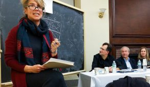 Associate Professor of Political Science Kelly Greenhill speaks during a faculty panel on President-elect Donald Trump's proposed policies in the Terrace Room on Dec. 1. (Nicholas Pfosi / The Tufts Daily)