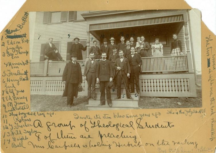 Members of the Heth Aleph Res fraternity pose for a photo in front of their house, which is now the Arts Haus, sometime between 1896 and 1897. (Digital Collections & Archives)