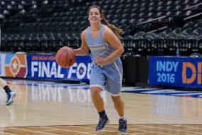 Junior guard Lauren Dillon shoots at Bankers Life Fieldhouse on the day of the NCAA Div. I championship on April 4, 2016. (Evan Sayles / The Tufts Daily)