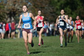 10/15/16 – Waterford, CT – Junior Olivia Nicholson sprints to the finish line at the Connecticut College Cross Country Invitational at Harkness Memorial State Park on Saturday, Oct. 15, 2016. (Evan Sayles / The Tufts Daily)