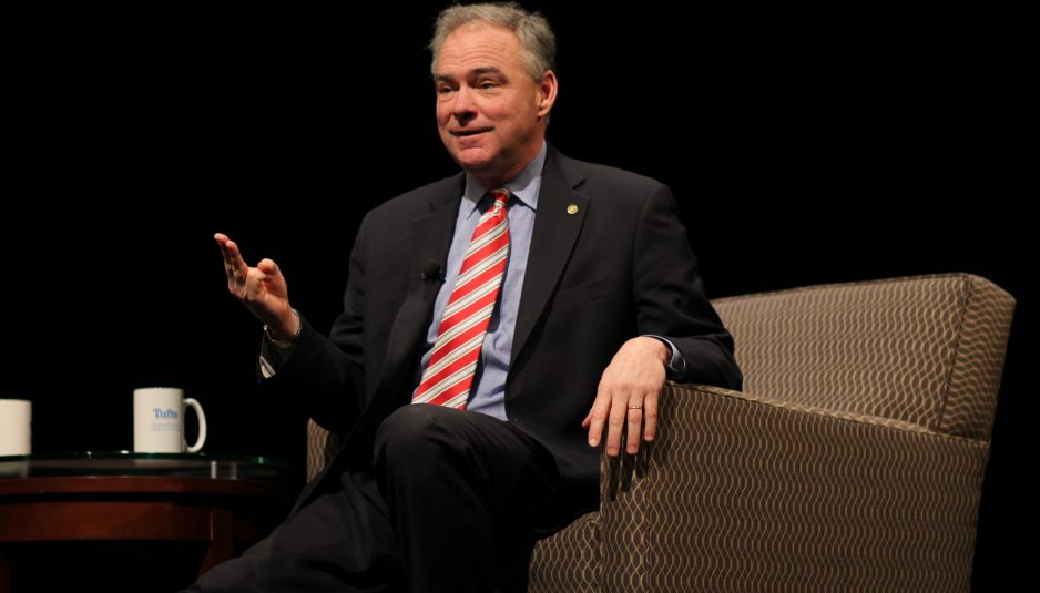U.S. Senator and 2016 Vice Presidential Candidate Tim Kaine leads a conversation at Tisch College''s Distinguished Speaker Series (Alexis Serino / The Tufts Daily)