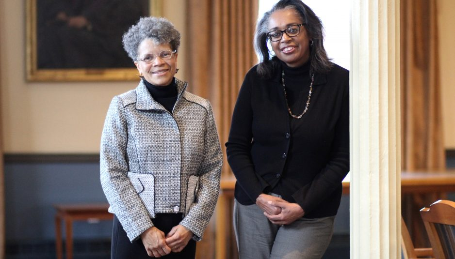 Interim Chief Diversity Officers Ellen Pinderhughes, left, and Robin Glover, right, pose for a portrait in Ballou Hall on Jan. 27. (Alexis Serino / The Tufts Daily)